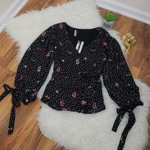Topshop black floral print blouse